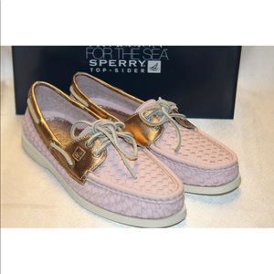New! Sperry Top Sider woven leather boat shoes